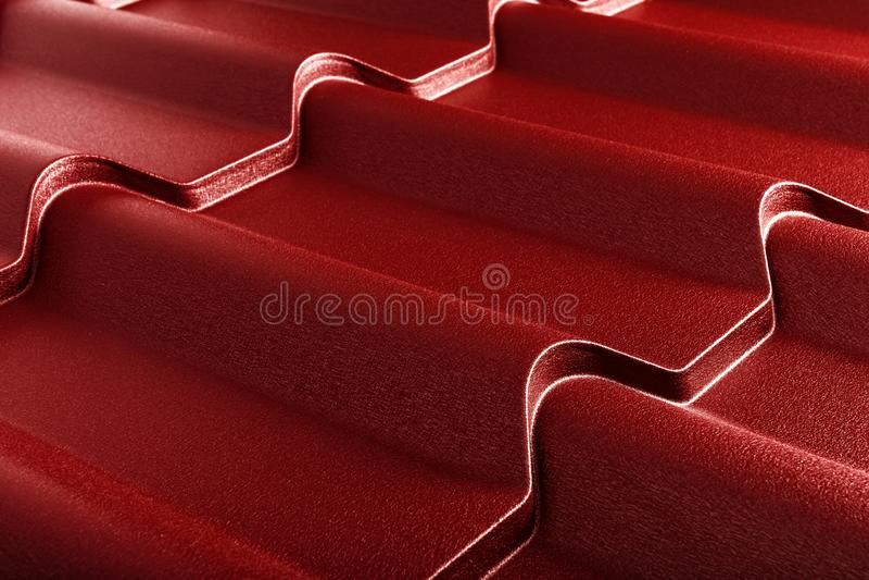 Telha do metal Material telhando moderno Textura diagonal foto de stock
