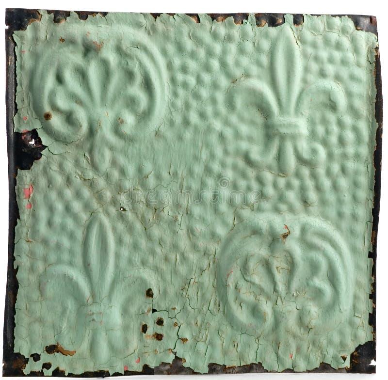Telha do teto de Antiue com projeto da flor de lis fotografia de stock