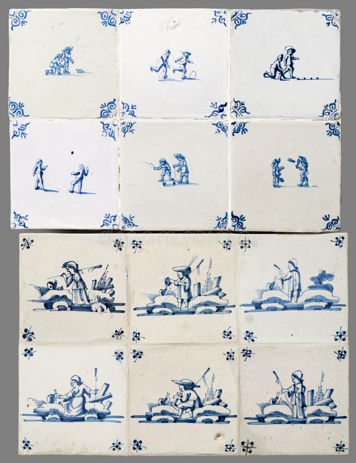 Telha holandesa do 16a ao século XVIII imagem de stock