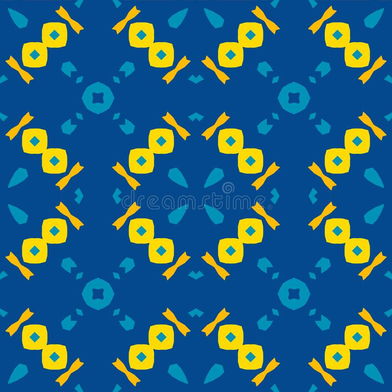 Telha marroquina - teste padrão sem emenda, fundo azul ilustração stock