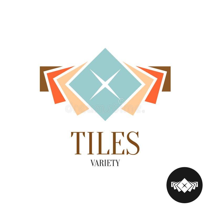 Telha o logotipo da variedade Fileira das telhas do quadrado da cor ilustração stock