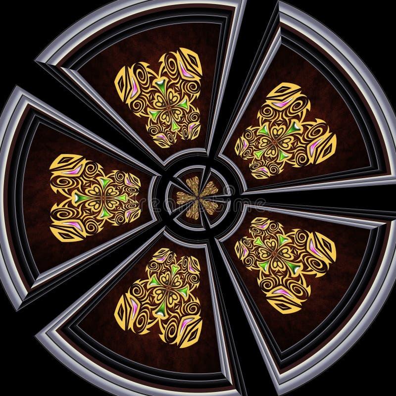 Telha plástica do ornamento com o ornamento quadro do ouro ilustração stock