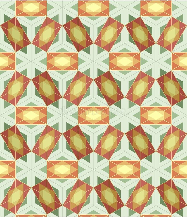 Telha sem emenda do fundo com teste padrão 3d geométrico ilustração stock