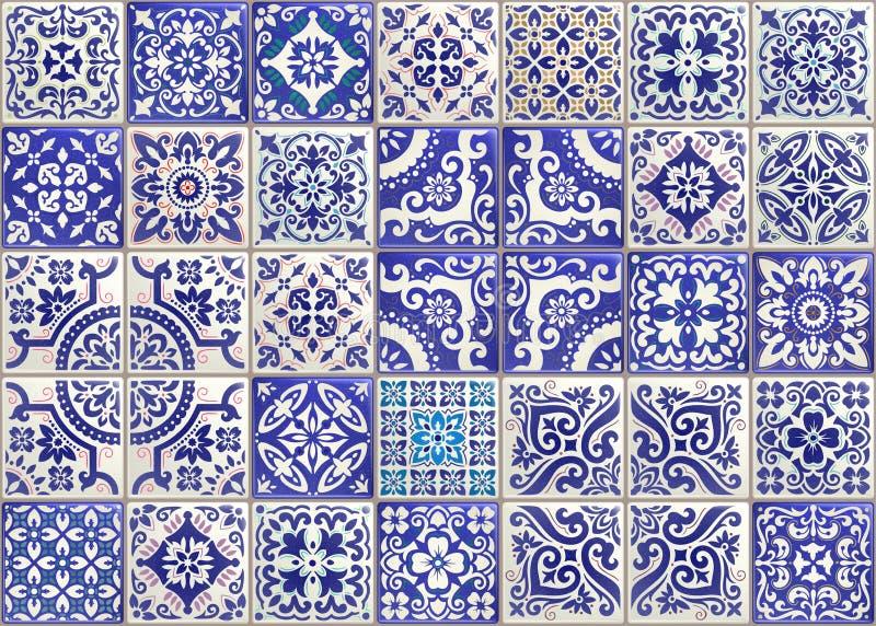 Telha sem emenda dos retalhos com motriz vitorianos Telha da cerâmica do Majolica, azulejo colorido, português tradicional origin ilustração royalty free