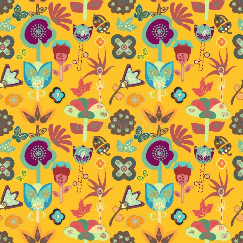 Telha sem emenda floral do teste padrão do jardim brilhante colorido com flores lunáticas ilustração do vetor