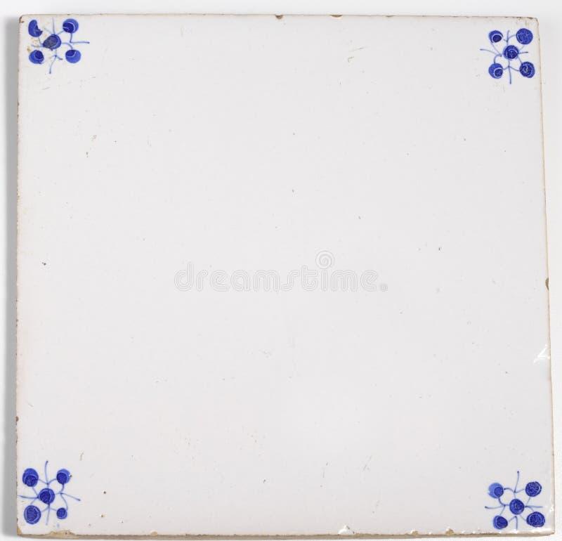 Telha vazia do vintage em Louça de Delft-azul fotos de stock