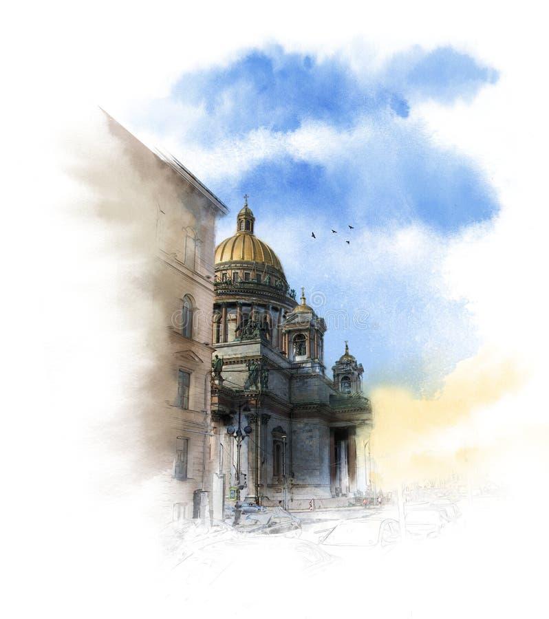 Telhado arquitetónico bonito da casa velha, St Petersburg, Rússia Esboço arquitetónico da aquarela ilustração do vetor
