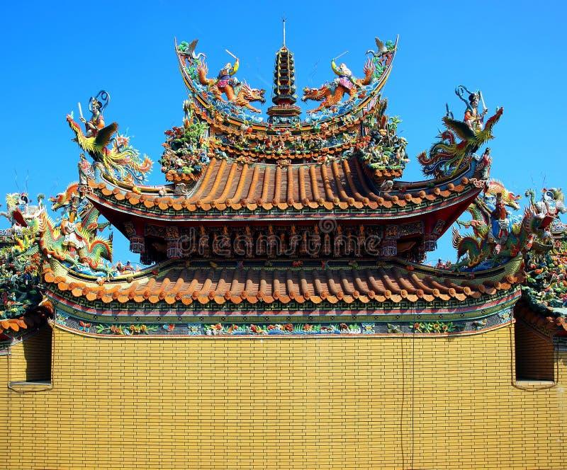 Telhado chinês colorido do templo imagem de stock