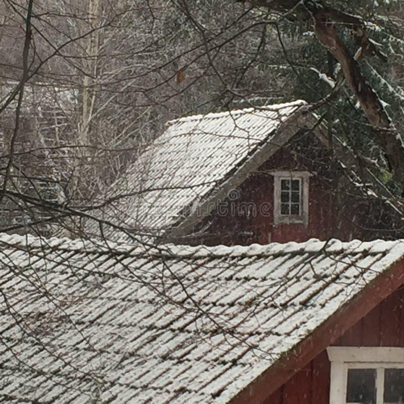 Telhado com as telhas cobertas com a neve fotos de stock royalty free