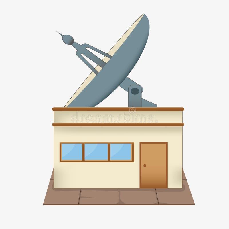 Telhado da antena parabólica ilustração stock