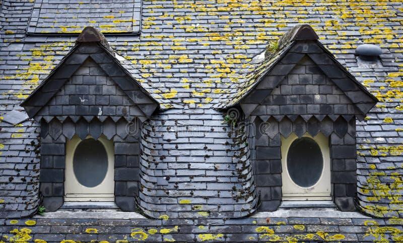 Telhado de ardósia e janelas de trapeira em Mont Saint Michel fotografia de stock royalty free