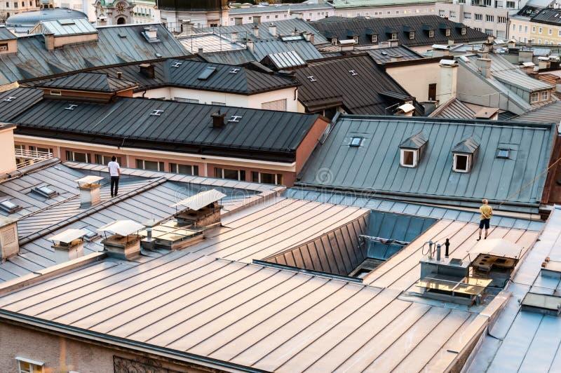 Telhado de Salzburg fotografia de stock