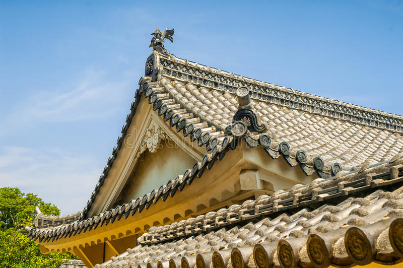 Telhado do castelo de Himeji fotografia de stock