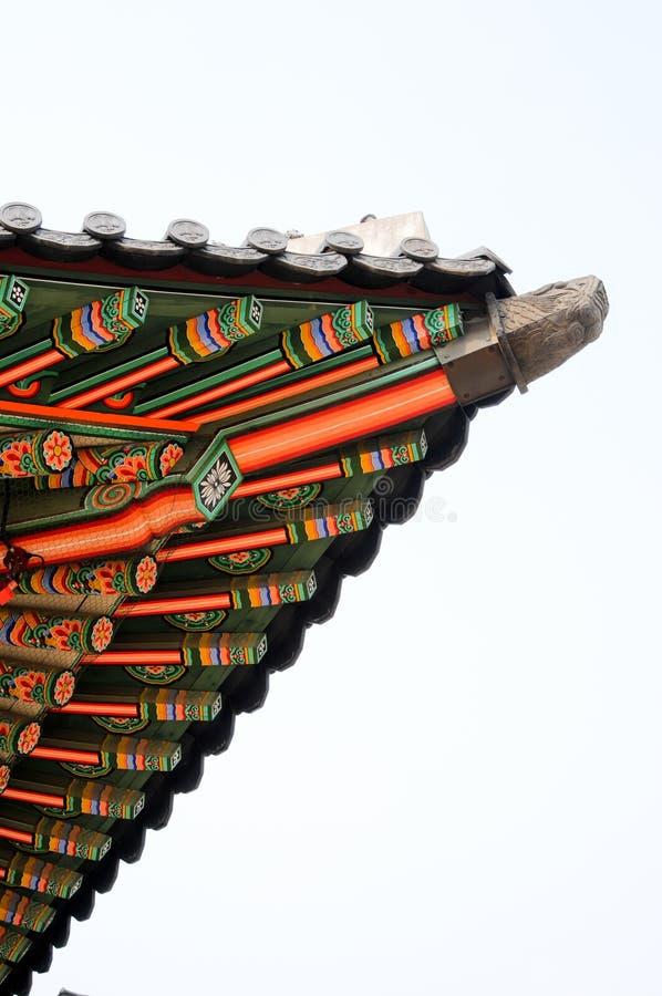 Telhado do Close-up do templo de Coreia imagem de stock