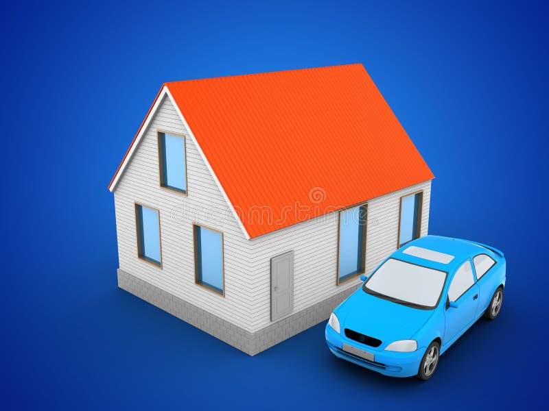 telhado do vermelho da casa 3d ilustração royalty free