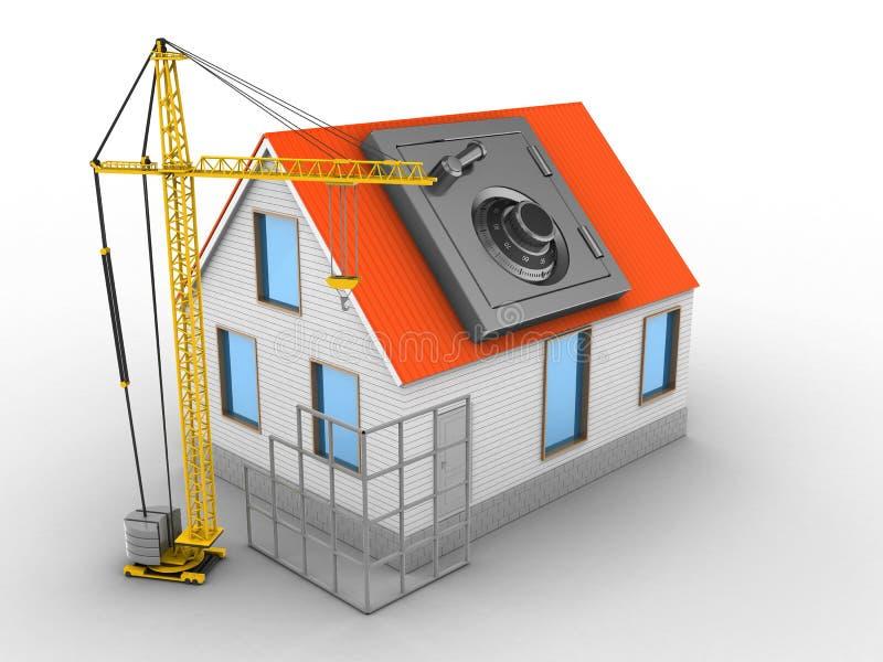 telhado do vermelho da casa 3d ilustração stock