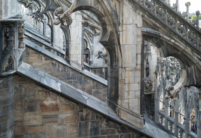 Telhado gótico de Milan Cathedral imagens de stock royalty free
