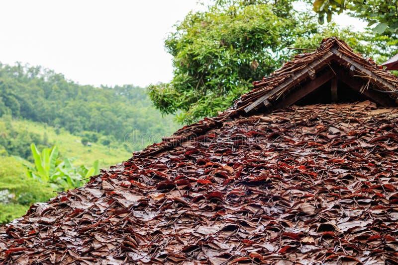 Telhado secado da folha das casas de campo foto de stock