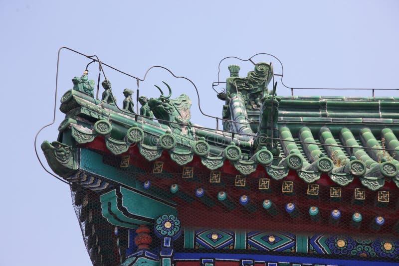 Telhado velho clássico da porcelana no Pequim imagens de stock
