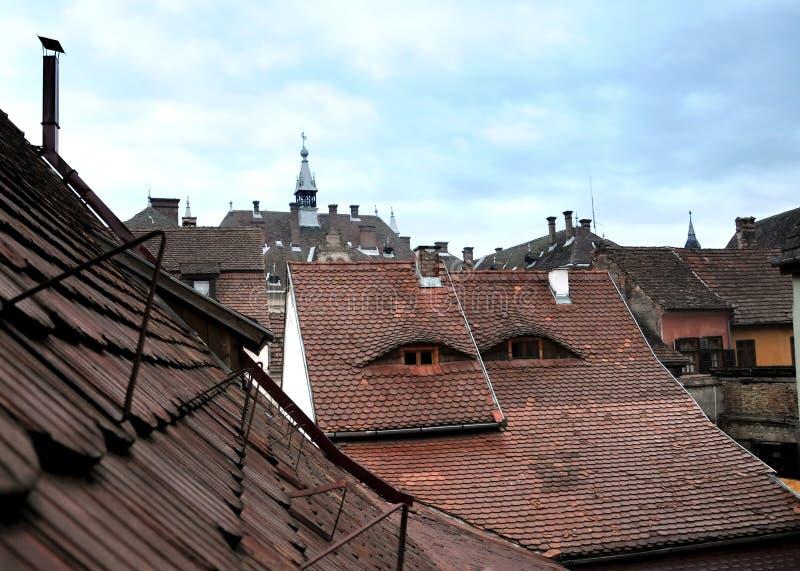 Telhados da cidade imagens de stock