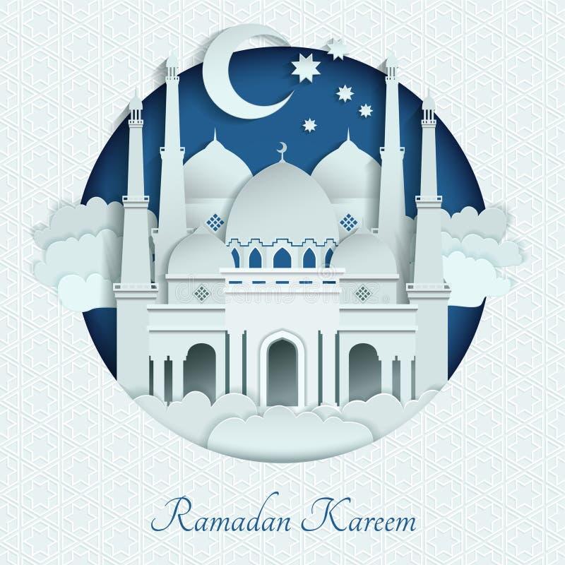 Telhados das mesquitas do papel com sombras longas Ilustração do fundo do vetor do Islã ilustração stock
