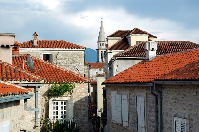 Telhados de Budva fotografia de stock royalty free