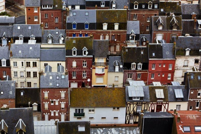 Telhados de Le Treport, França fotos de stock royalty free
