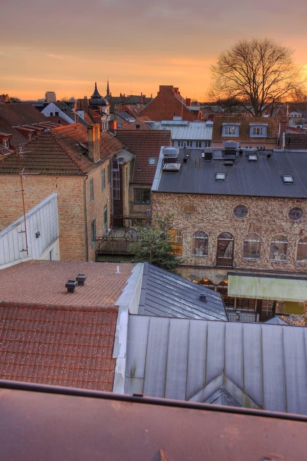 Telhados de Lund fotografia de stock