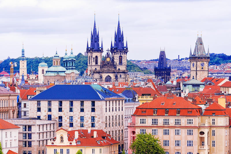 Telhados de Praga, República Checa imagem de stock