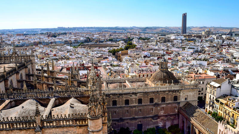 Telhados de Sevilha, Espanha imagens de stock
