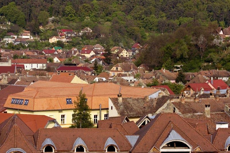 Telhados de Sighisoara imagem de stock royalty free