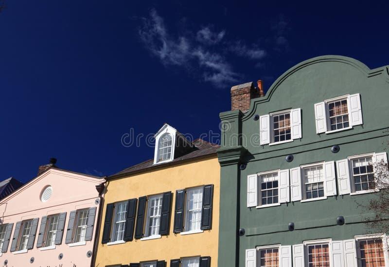 Telhados do arco-íris de Charleston fotografia de stock
