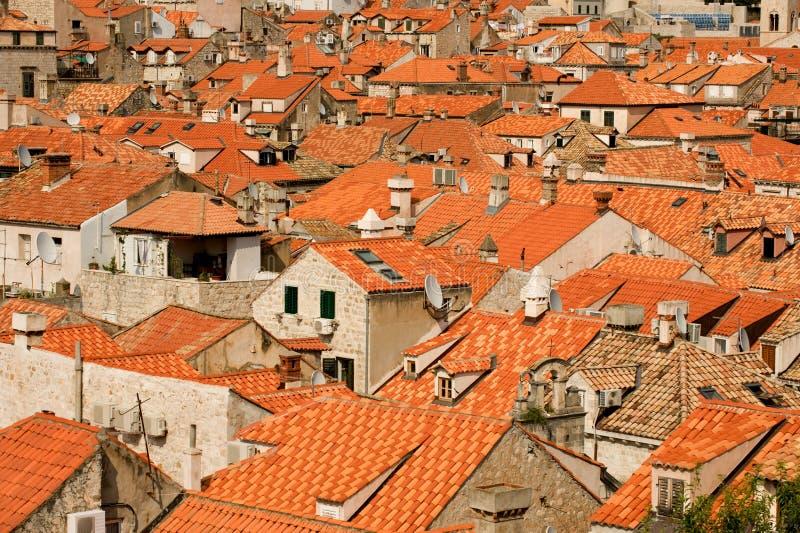 Telhados do vermelho de Dubrovnik imagem de stock royalty free