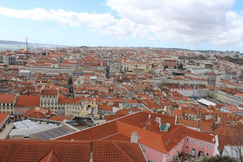 Telhados do vermelho de Lisboa imagem de stock royalty free