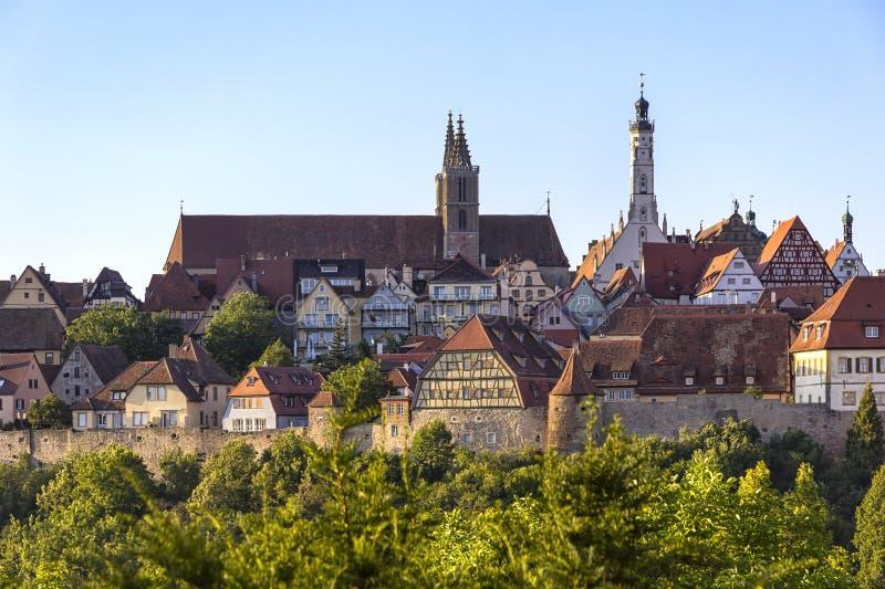 Telhados e construções no der Tauber do ob de Rothenburg da cidade fotografia de stock