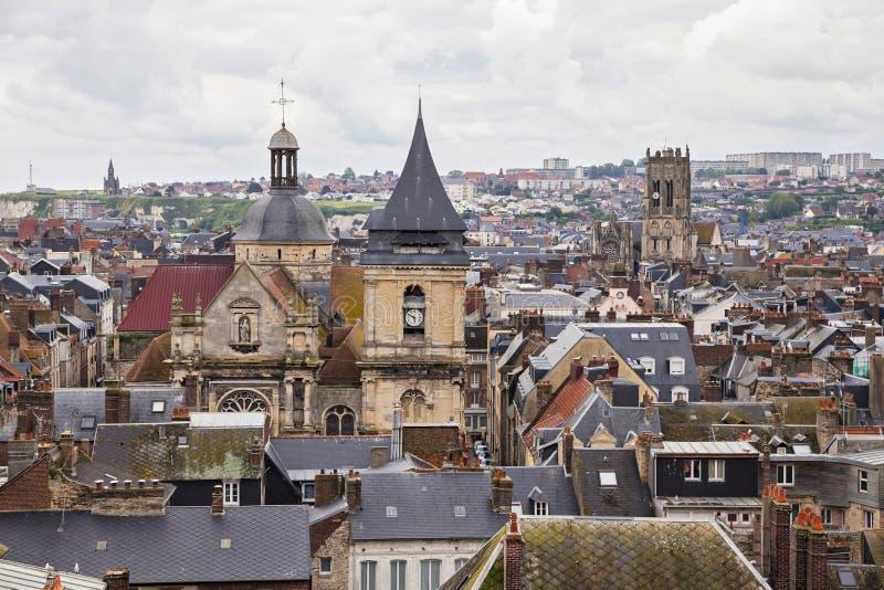 Telhados e torres de Dieppe, França imagem de stock royalty free