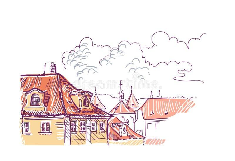 Telhados europeus de Praga da opinião da ilustração do vetor do esboço ilustração royalty free