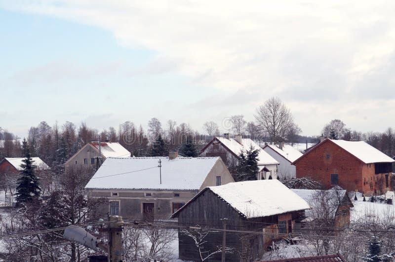 Telhados no inverno fotos de stock royalty free