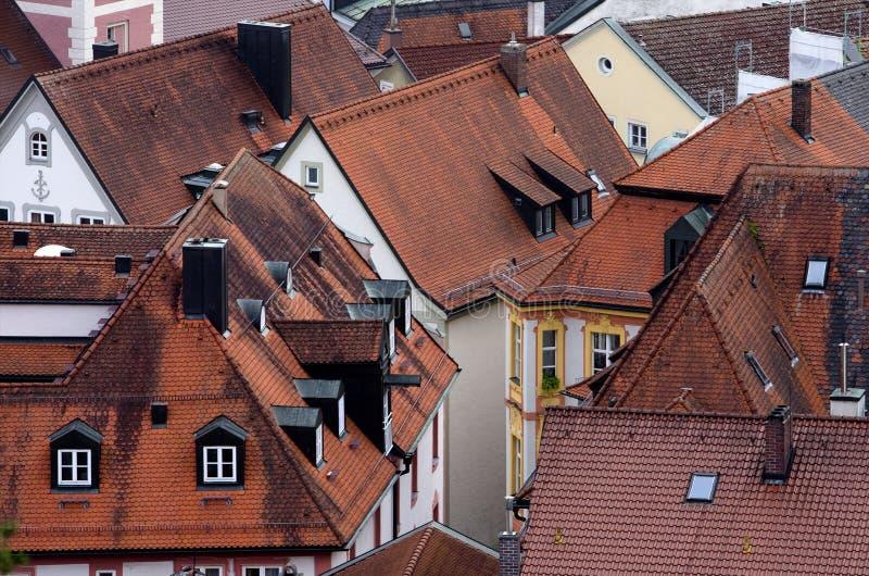 Telhados velhos da cidade alemão, Eichstaett, Baviera fotos de stock royalty free