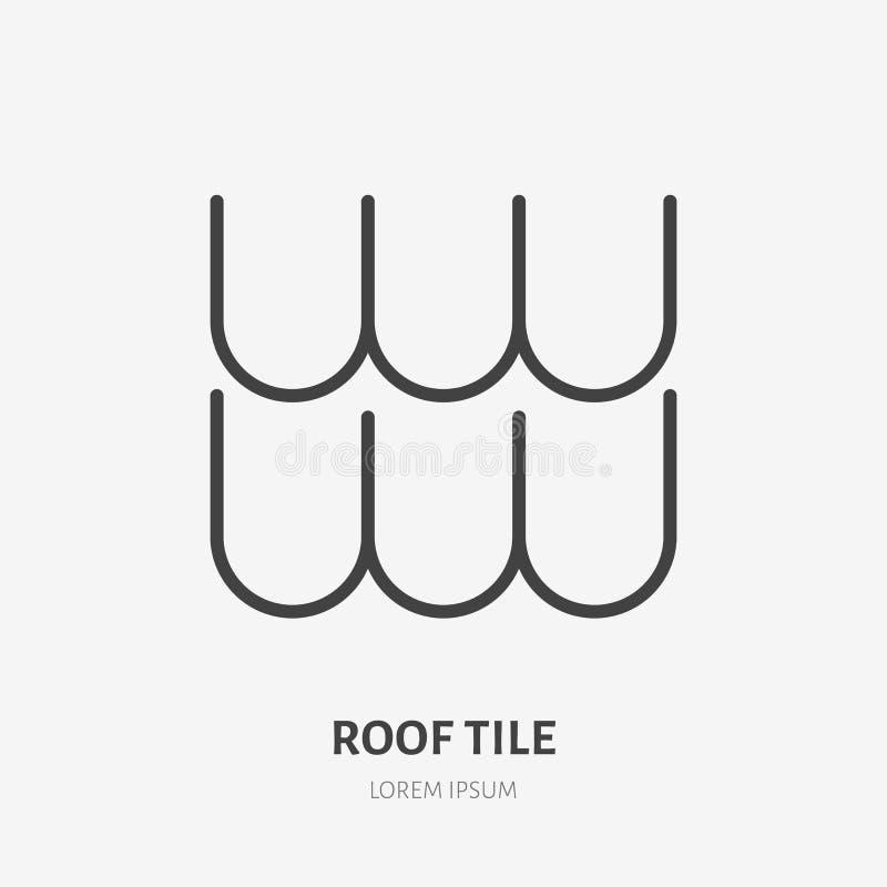 Telhando a linha lisa ícone Ilustração do material composto do telhado de telha Sinal da construção da casa Logotipo linear fino  ilustração stock