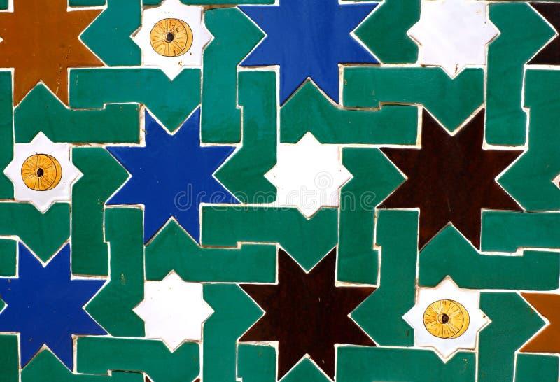 Telhas da estrela do mosaico no estilo mouro velho fotos de stock