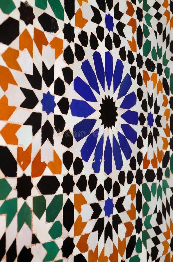 Telhas da parede do Arabesque de Marrocos C4marraquexe fotografia de stock royalty free