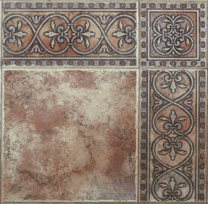 Telhas de assoalho no estilo retro com teste padrão abstrato do close-up fotografia de stock