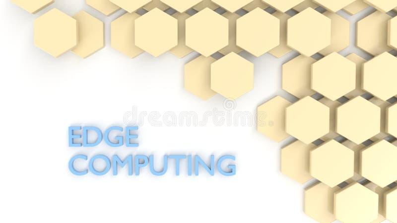 Telhas de computação do hexágono do conceito da borda no branco ilustração stock