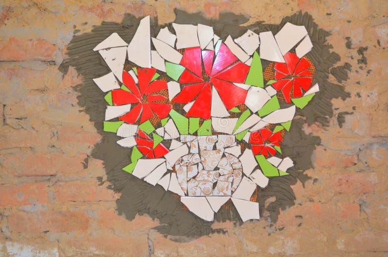 Telhas de mosaico com bastão imagens de stock royalty free