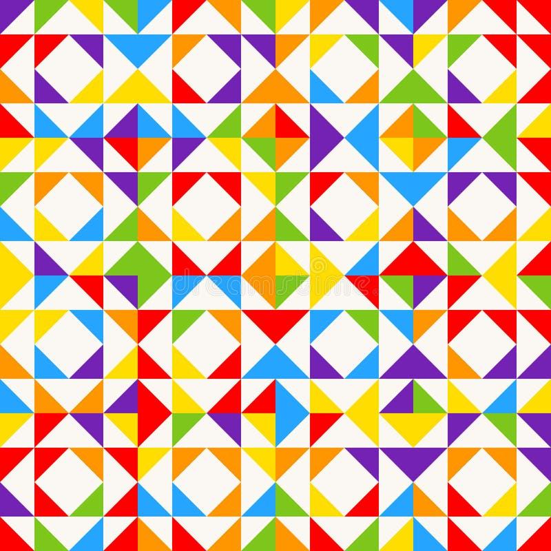 Telhas de mosaico do arco-íris, fundo geométrico abstrato, teste padrão sem emenda do vetor ilustração royalty free