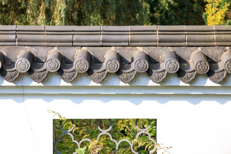 Telhas de telhado na parede branca dentro no estilo chinês fotografia de stock royalty free