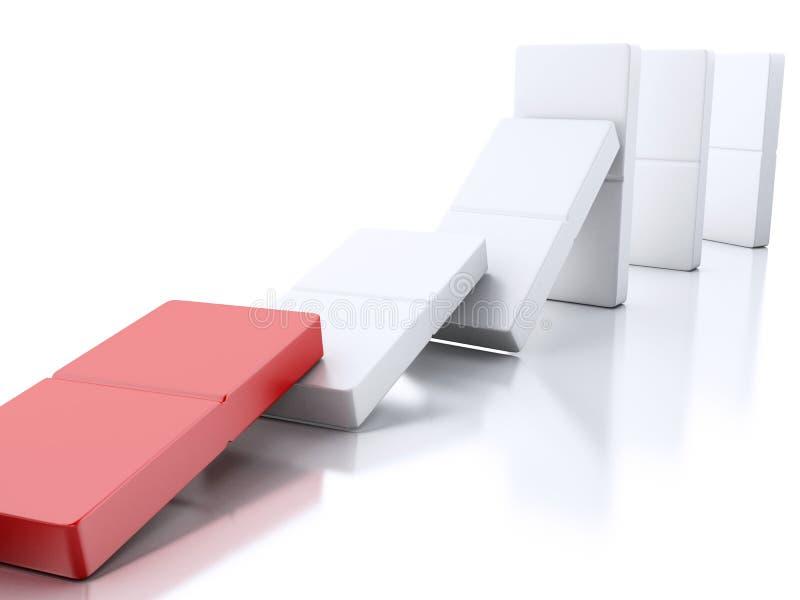 telhas do dominó 3d que caem em seguido ilustração royalty free