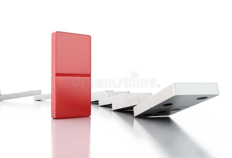 telhas do dominó 3d que caem em seguido ilustração stock