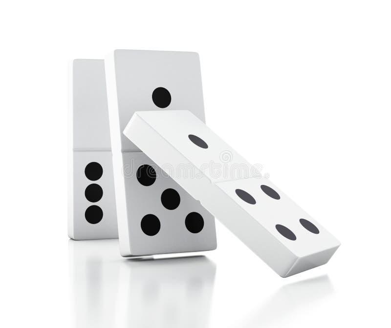 telhas do dominó 3d que caem em seguido ilustração do vetor